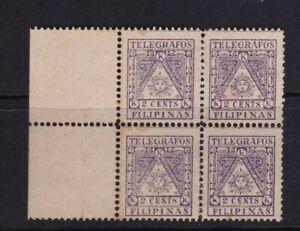 Philippines 1896 Aguinaldo Revolution 2 cent Violet Telegrafos Block/4 mint NH