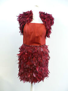 Carla-Ruiz-Red-Feather-Dress-and-Jacket-Set-Size-8-Box62-21-C