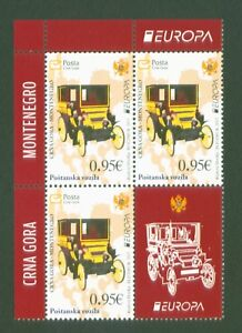 Montenegro-Crna-Gora-2013-Europa-CEPT-Postfahrzeuge-Nr-328-Zf-im-4erBlock