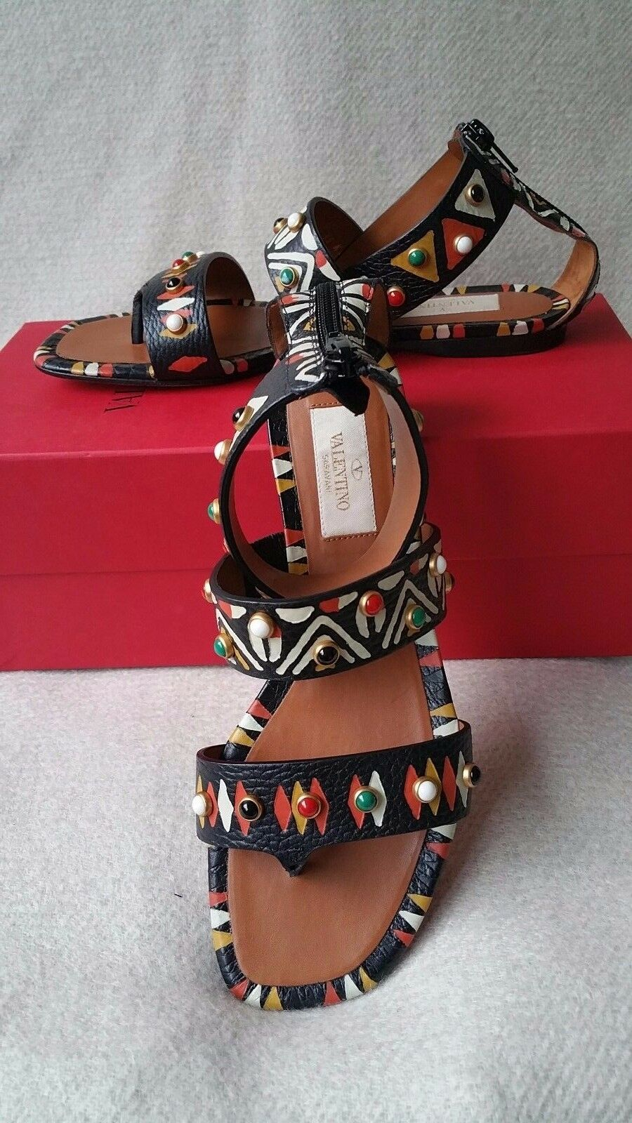 NIB 36.5 6.5 Valentino Studded Hand Painted Strappy Thong Sandals Tribal Stones