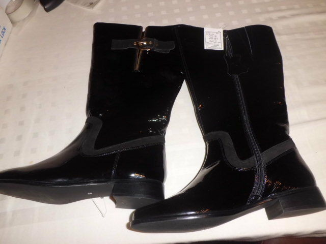 Damenschuhe LEATHER BLACK BOOTS SIZE 8+ zipped with belt on other side c picture