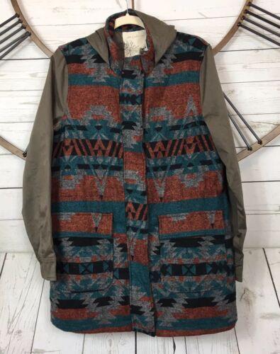 Creme Stor Jakke Uld Hooded Aztec Nwd En Southwest Blend Print Tæppe Frakke p084dq