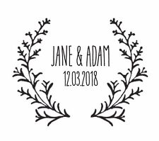 """WEDDING STAMP, PERSONALISED BESPOKE INITIALS & DATE 2"""" or 50mm woodland"""