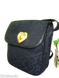 Vintage YSL Yves Saint Laurent Navy Blue Canvas Leather Saddle ...