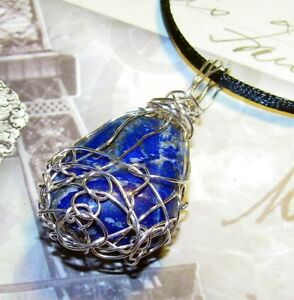 UNIQUE-HAND-CRAFTED-SILVER-WIRE-WRAPPED-SODALITE-PENDANT-2-INCHES