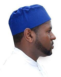 Royal Blue Pleated-top Fabric Prayer Cap Kufi Hat Taqiyah Takke Peci ... 544bd32e5e7