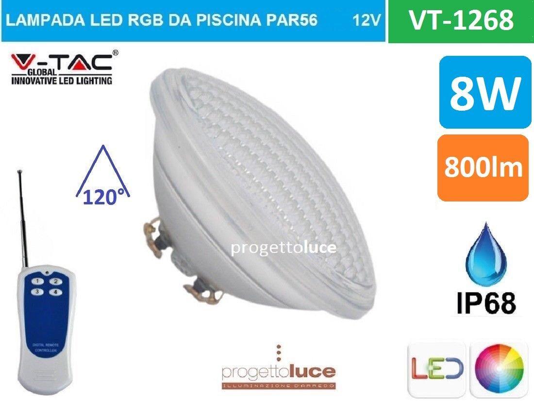 V-TAC VT-1268 LAMPADA LED RGB DA PISCINA PAR56 8W IP68 12V CON TELECOMANDO