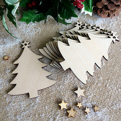 Wooden CHRISTMAS TREE Blank Decoration Gift Tag Art Craft Project Shapes x10