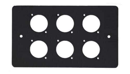 6 Trous XLR noir enduit double deux Gang Visage Plaque de Couverture Panneau en acier