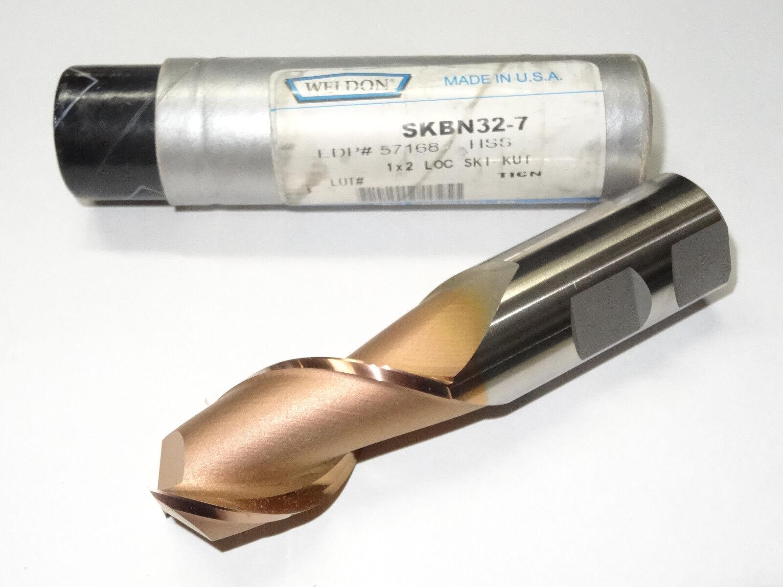 """Weldon 57080-88-W 7//8/""""x 1-7//8/""""Fl HSS 45° Ski-Kut 2 Flute Single End Mill w//TiN"""