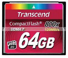 Transcend CompactFlash 64GB 64G 800X 120MB/SEC Read 60MB/SEC Write UDMA7 CF Card