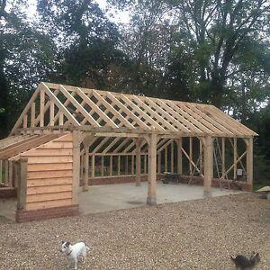 Green-Oak-framed-Garage-Oak-fronted-3-bay-Cart-lodge-Barn