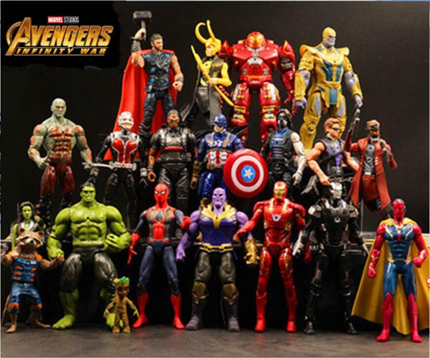 20pcs Marvel Hero Avengers Hulkbuster Spiderman Hulk Action Figures Display Toy