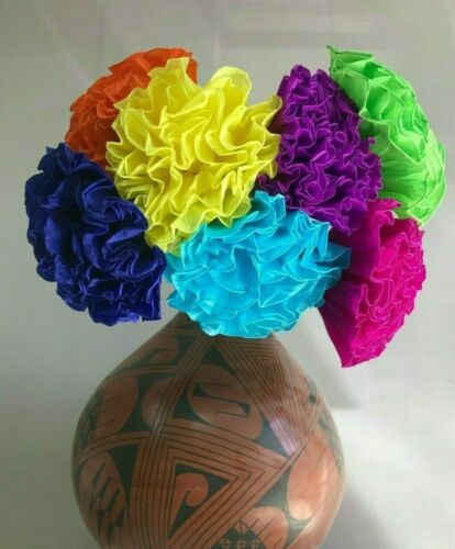 "ASSORTED COLORS 7 /"" 6 PIECE SET OF HAND MADE MEXICAN  PAPER CREPE FLOWERS"