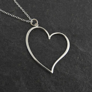 5a928caaa181d Image is loading Heart-Necklace-925-Sterling-Silver-Outline-Pendant-Love-
