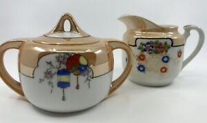 Vtg Noritake Sugar Bowl Lid Hand Painted Luster Unbranded Creamer Japan GUC Set?
