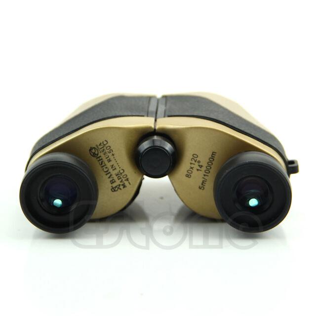 New 80x120 Spotting Scope Binoculars LED Telescope Optical Zoom 5m-10000M Gold