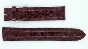 CARTIER-Crocodile-Watch-Band-Strap-NEW-18-X-16-5mm-Shiny-Black-Cherry-Red