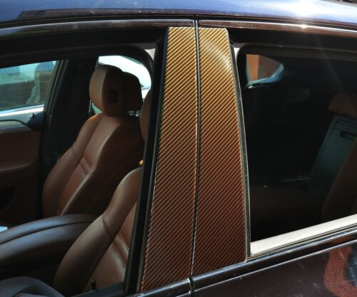 6x Carbon Look Marron set Convient pour BMW e34 e39 e60 e61 e65 e38 3er 5er 7er