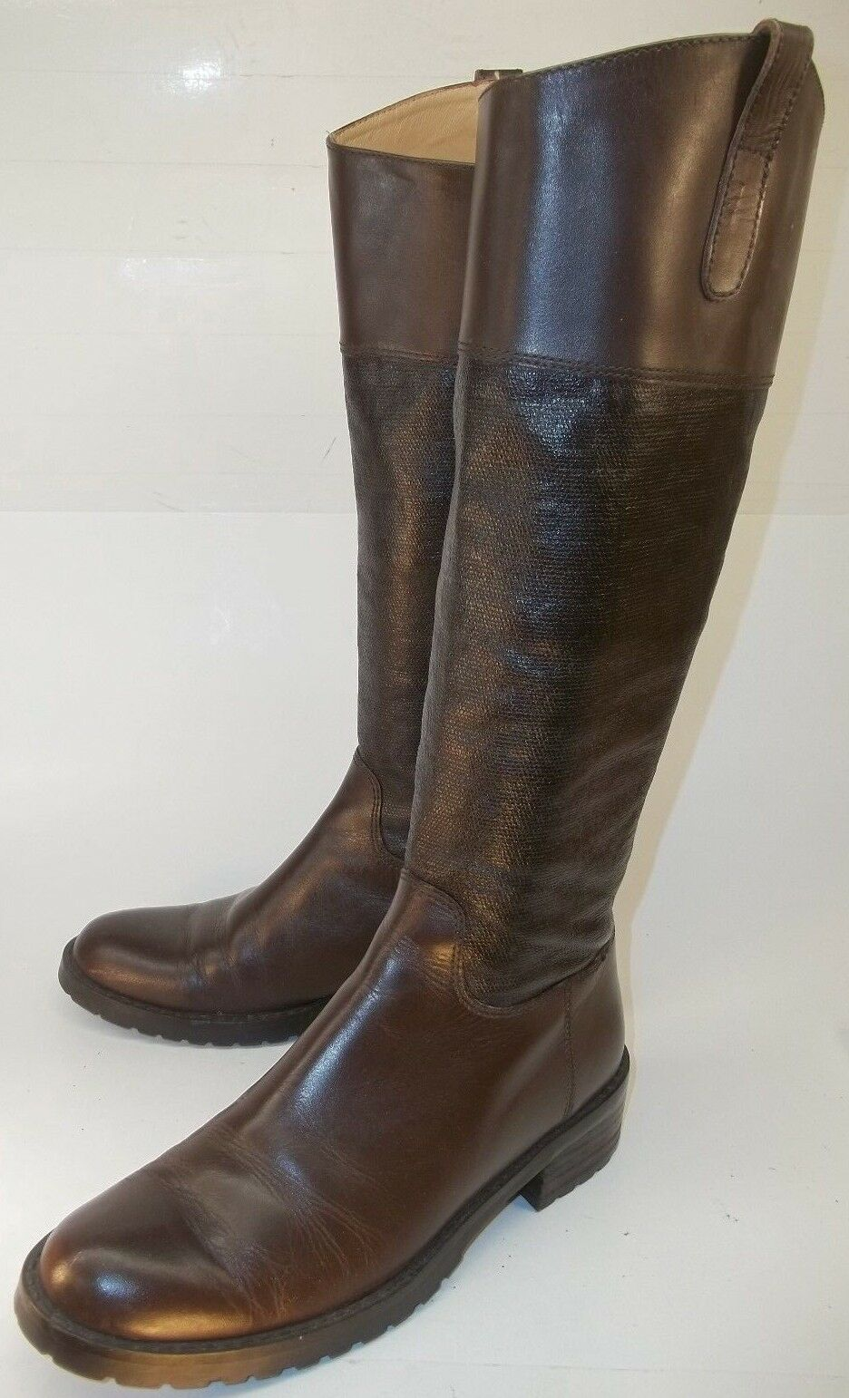 Studio Pollini Wo's US 5.5 Brown Leather Textured Zip tall Riding Boots