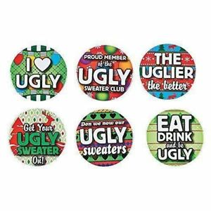 6411f1e5d Image is loading 12-UGLY-CHRISTMAS-SWEATER-PARTY-AWARD-BUTTONS-PINS-
