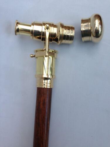 Wooden Walking Stick Brass Cane Telescope Handle 3 Fold Nautical Marine Gift