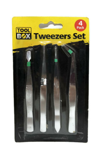 4 x Pieces Tweezer Set  Hobby Long Durable Eyebrow Hair Tweezerette Plucker