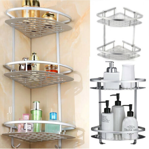 Corner Storage Rack Shower Shelf Bathroom  Aluminum Tripod Holder Basket 2//3Tier