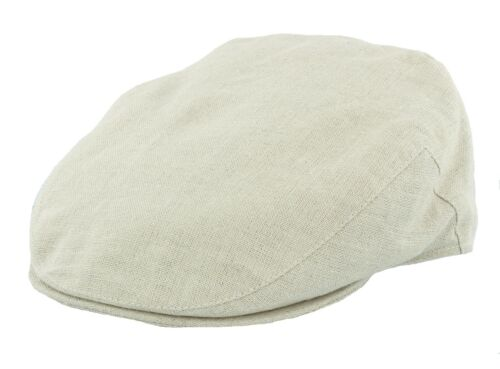 Natural or Navy Failsworth Irish Linen Flat Cap White