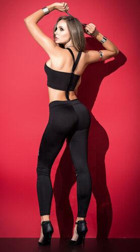 Mapale Black Bra Top /& Pant Set w// Zipper Detail Lingerie 2503