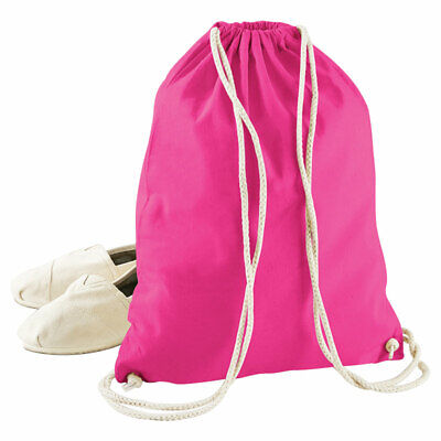 Westford Mill Cotton Kids School Bag Gym Storage Holdall Drawstring Backpack New
