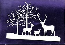 8 NEW  DEER  FAMILY & TREE DIE CUTS- WHITE CHRISTMAS  ANIMAL TOPPER .WINTER SCEN