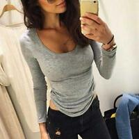 Womens Sexy Casual Slim Bodycon Long Sleeve Blouse T-Shirt Pullover Cotton Tops
