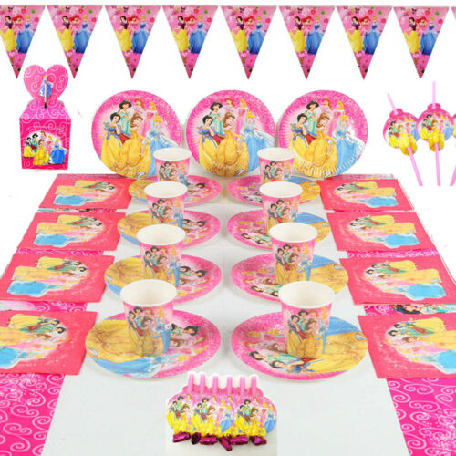 Princess Cinderella Birthday Party Table Cover Plates Cups Napkin Buntings Hats