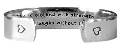 She is Strong Proverbs 31:25 Elle Est Forte Hand Stamped Personalized Aluminum Spiral Ring Jewelry
