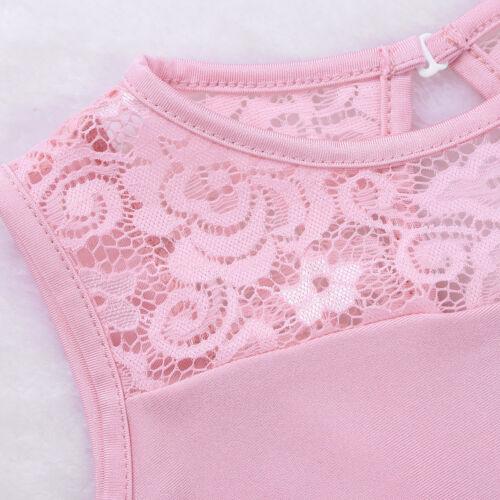Toddler Girls Gymnastics Leotard Kid Lace Cutout Back Ballet Dance Dress Costume