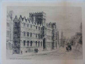 """Charles Murray Antique Etching  Print """"Front from the High St."""" Oxford? signed."""