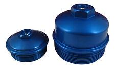 6.0L Powerstroke BLUE Billet Fuel Filter + Oil Filter Cap SET with Test Ports