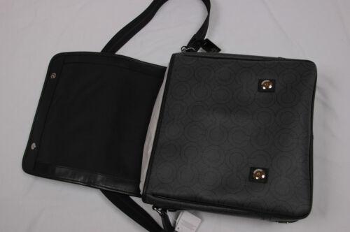 NWT COACH Men OP ART Shoulder Messenger Map Bag #70262 Charcoal Black