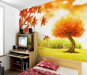 3D Automne Erable 1 Photo Papier Peint en Autocollant Murale Plafond Chambre Art