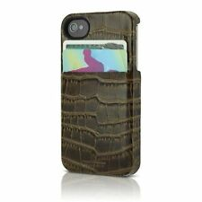 HEX Solo Wallet Croco Leather Snap Case w/Card Slots for iPhone 4s 4 Olive Green
