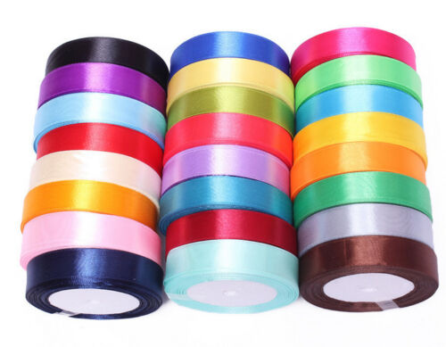 Satin Ribbon 1 inch 25mm wide Craft 22m roll shiny most demanding assorted color