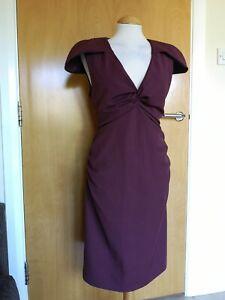 Ladies-BASTYAN-Dress-Size-16-Burgundy-Wiggle-Pencil-Stretch-Party-Evening