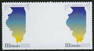 #5274 Illinois Statehood, Vertical Gutter Par [2] Nuevo Cualquier 5=