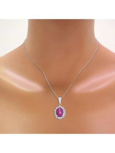 Princess Diana Inspired Halo Diamond /& Star Ruby Pendant Necklace Set In Set in