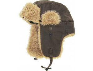 4b43bbd3ed26e Unisex Dark Brown Canvas Trapper Hat Faux Fur Warm Winter Aviator ...