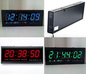 Mince 18.9\'\' X 7.3\'\' Numérique LED Horloge Murale Calendrier Date ...