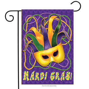 Image Is Loading Mardi Gras Garden Flag Mask Beads Holiday 12