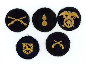 WWII-WW2-US-Army-cap-patch-devices-lot-of-5x-FIVE