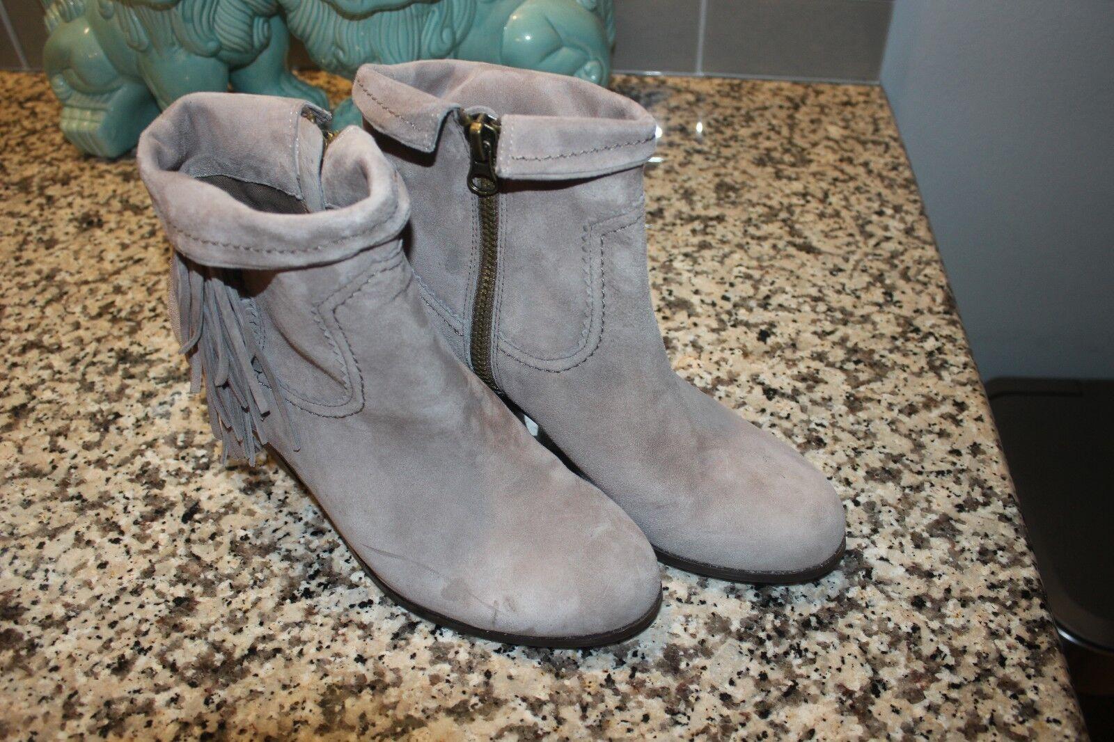 NWOB 120 Sam Edelman Louie GREY Suede Zip Leder Fringe Ankle Boot Zip Suede 9M 90aa0e